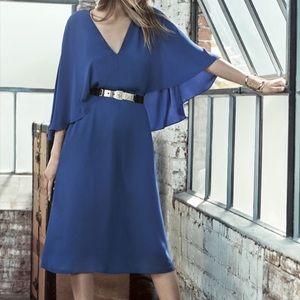 BCBG MaxAzria Chiffon Cape Dress w/ Split Back